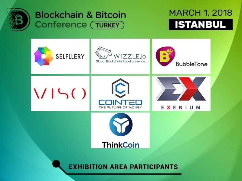 Advanced blockchain solutions, crypto exchanges, and software in exhibition area of Blockchain & Bitcoin Conference Turkey