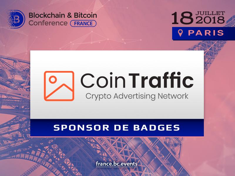 Agence média CoinTraffic est le sponsor de badges de « Blockchain & Bitcoin Conference France »