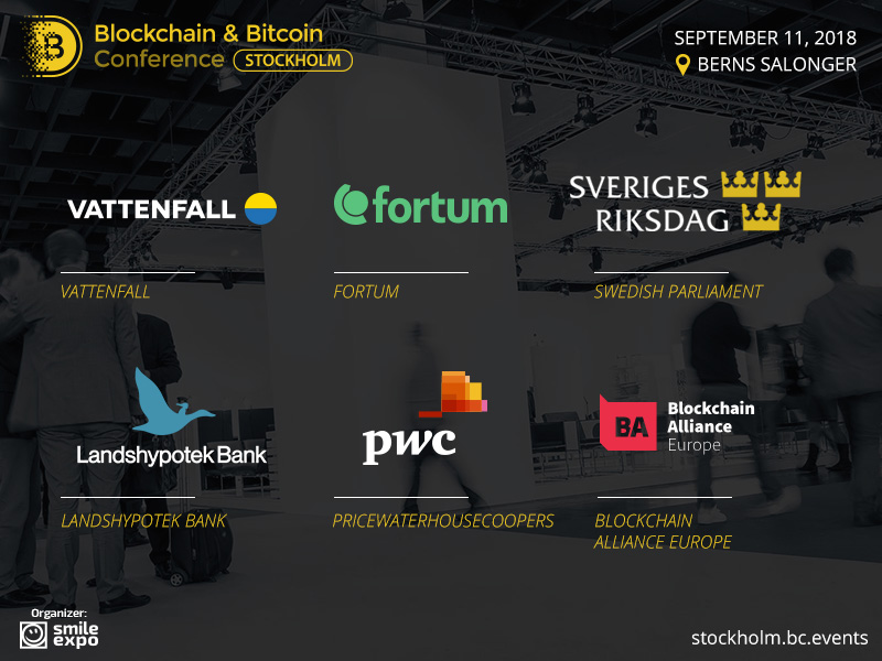 Blockchain & Bitcoin Conference Stockholm Will Feature Representatives of Top Worldwide Companies