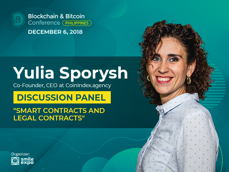 Co-Founder & CEO at CoinIndex.agency Yuliya Sporysh Will Talk About Smart Contracts During the Panel Discussion