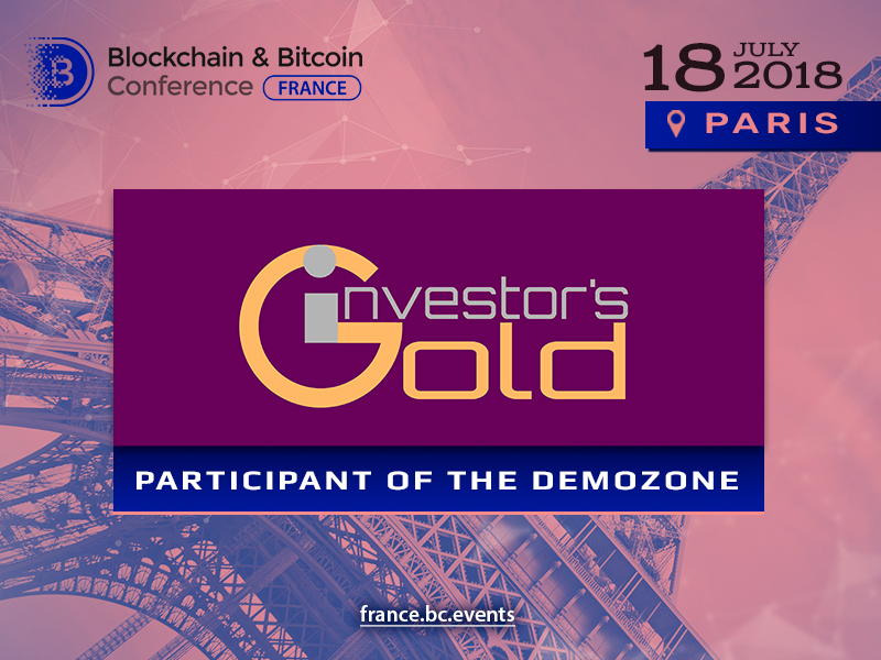 Investor's Gold blockchain platform to exhibit at Blockchain & Bitcoin Conference France