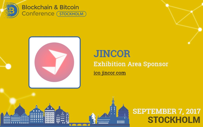 Jincor: exhibition area sponsor and participant at Blockchain & Bitcoin Conference Stockholm