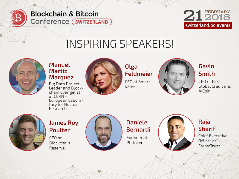 Keynote fintech experts of Switzerland will participate in Blockchain & Bitcoin Conference Switzerland