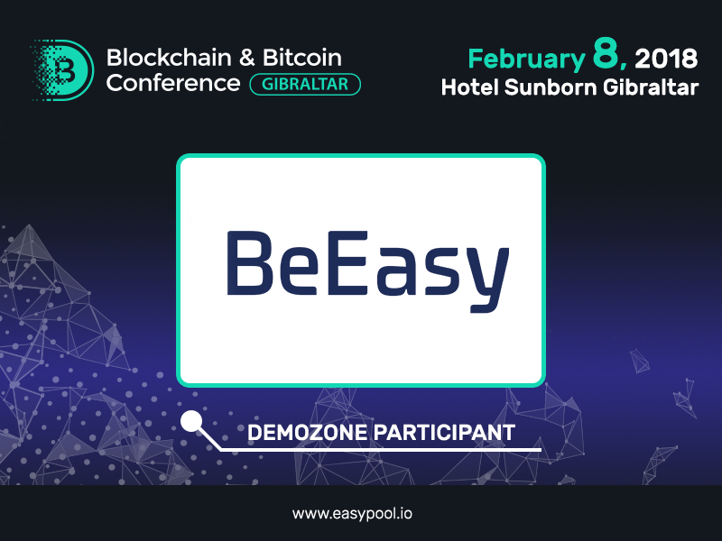 Participant of the exhibition area of Blockchain & Bitcoin Conference Gibraltar – a multifunctional blockchain platform BeEasy