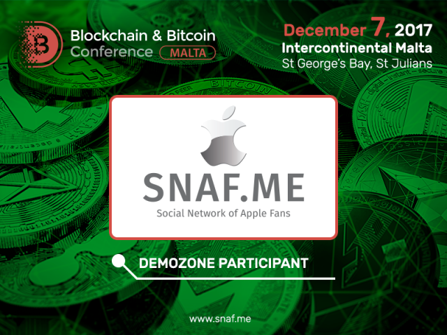SNAF social network: exhibitor of Blockchain & Bitcoin Conference Malta