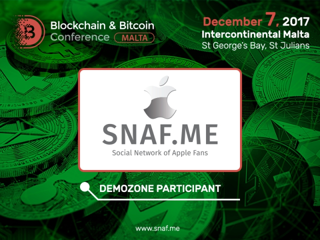 SNAF social network: exhibitor of Blockchain & Bitcoin Conference Malta