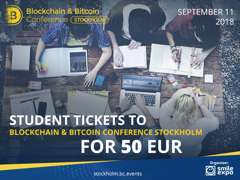 Student tickets to Blockchain & Bitcoin Conference Stockholm for 50 EUR