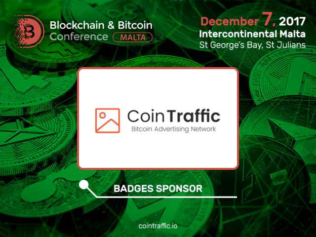 The first affiliate network for cryptocurrency projects CoinTraffic – Badge Sponsor of Blockchain & Bitcoin Conference Malta