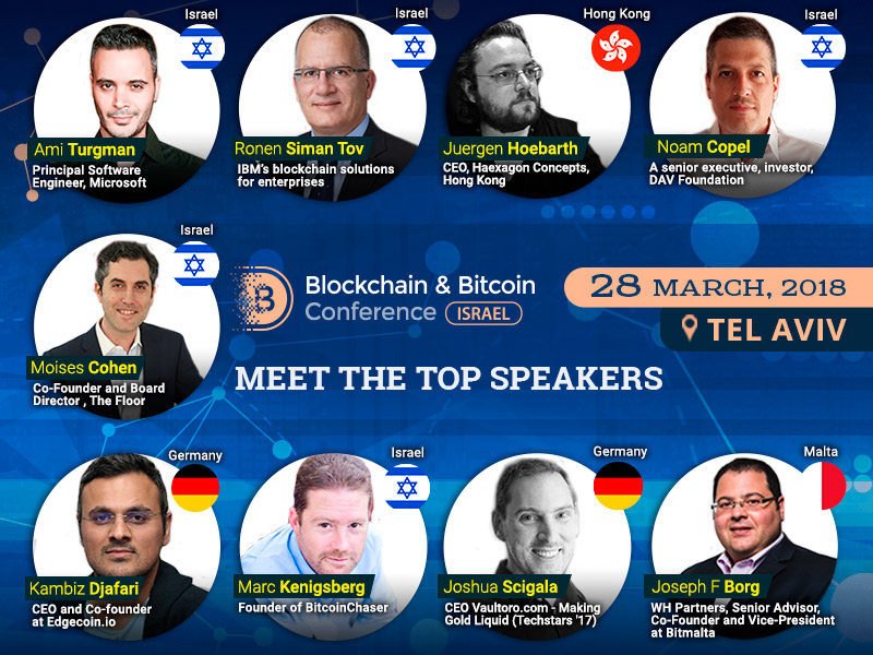 The whole range of blockchain application case studies from investing in startups to teaching artificial intelligence to be discussed at Blockchain & Bitcoin Conference Israel