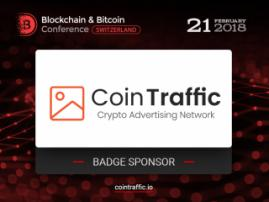 Badge sponsor of Blockchain & Bitcoin Conference Switzerland – CoinTraffic: leader among bitcoin advertising networks