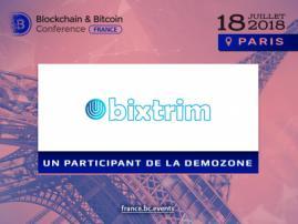 Bixtrim - un des participants de la zone démo de la Blockchain & Bitcoin Conference France