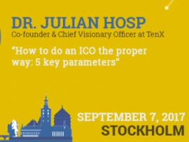 Julian Hosp, TenX co-founder, to reveal secrets of efficient ICO