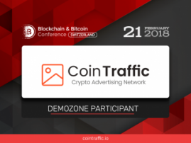 Meet Exhibition Area Participant of Blockchain & Bitcoin Conference Switzerland: CoinTraffic, cryptocurrency advertising network!