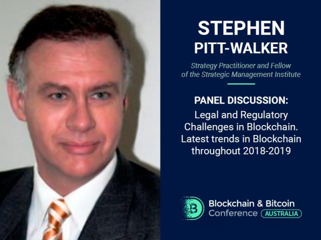 Advocate Stephen Pitt-Walker to discuss blockchain regulation at Blockchain & Bitcoin Conference Australia