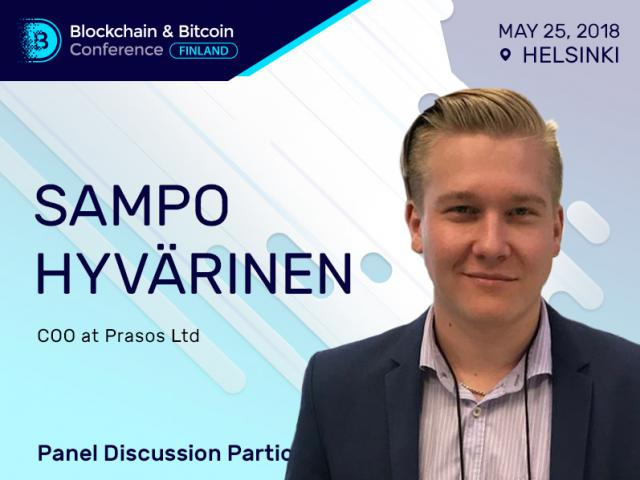 COO of crypto exchange Prasos Sampo Hyvärinen will discuss blockchain regulation at Blockchain & Bitcoin Conference Finland