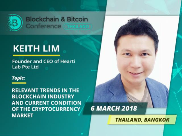 Founder and CEO at Hearti Lab Keith Lim will speak about relevant trends in the blockchain industry at Blockchain & Bitcoin Conference Thailand