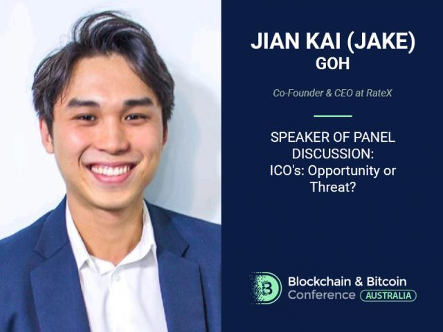 "Head of blockchain startup Rate Jian Kai Goh – a participant of discussion titled ""ICOs: Opportunity or Threat?"""