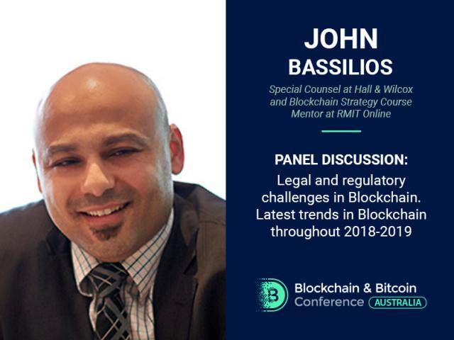 John Bassilios – new participant of panel discussion at Blockchain & Bitcoin Conference Australia