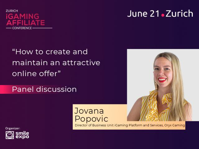 Jovana Popovic, Director of Business Unit iGaming Platform and Services at Oryx Gaming, to Participate in Panel Discussion on Attractive Online Offers