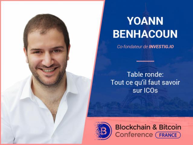 Le présent et le futur de l'ICO : le co-fondateur de Investig.io Yoann Benhacoun discutera le sujet
