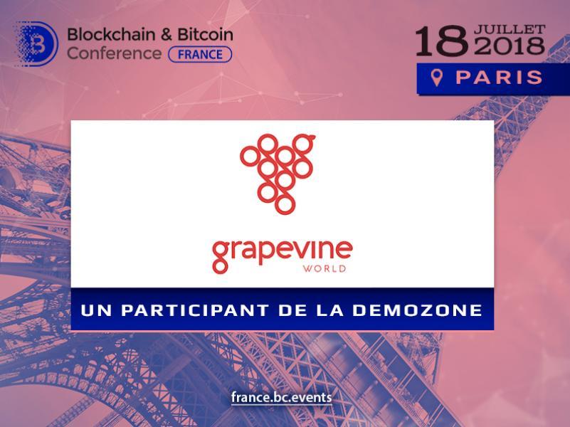 Plateforme mondiale de santé de blockchain Grapevine: exposant de Blockchain & Bitcoin Conference France