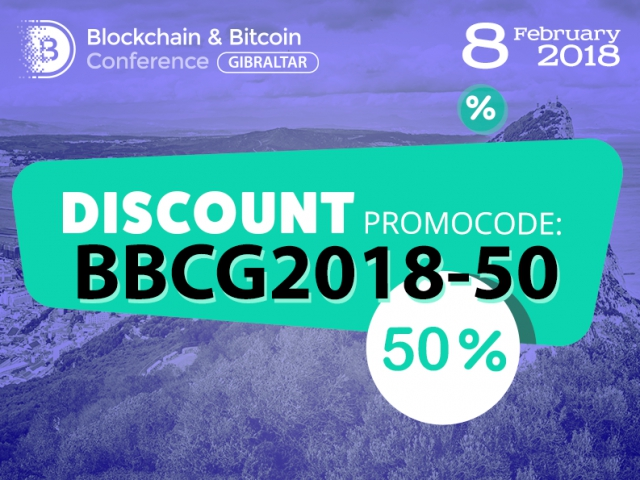 Three days only: 50% discount to Blockchain & Bitcoin Conference Gibraltar