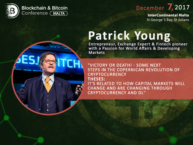 Victory or Death – blockchain evangelist Patrick Young will talk about further paths of blockchain and cryptocurrencies